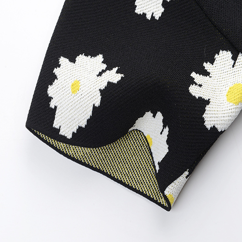 Grande taille fleur Jacquard T-Shirt rayé été élégant t-shirts femmes T-Shirt fermetures éclair pulls tricot hauts - 4