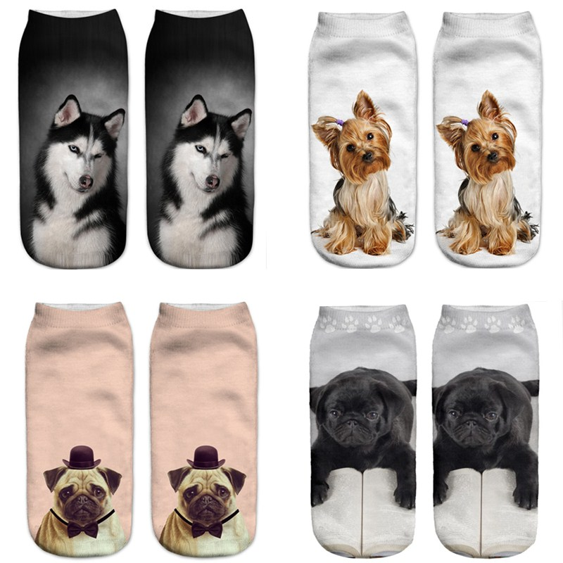 New Design Pattern 3D Print Animal Dog Women Socks Casual Cartoon Socks Unisex Low Cut Ankle Socks For Women Man Free Ship Hot