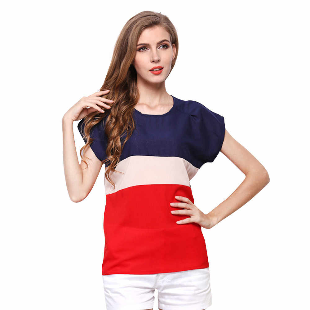 15Women Summer Stripe Chiffon Round neck Wildsummer tops Short Sleeve Casual Tops   roupas femininas#15