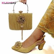 Gold Nigerian Sandalen mit Passenden Tasche für Frau Spitz Schuhe und Geldbörse Set Hohe Qualität Italienische Hochzeit Pumpen