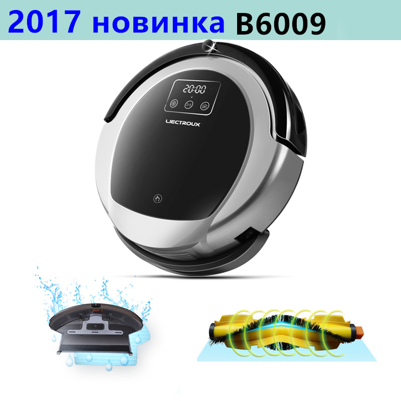 LIECTROUX Robotic Vacuum Cleaner B6009, 2D Map & Gyroscope Navigation,with Memory,Low Repetition,Virtual Blocker,UV Lamp,Wet Mop short uv lamp of wp601 accessories of vacuum cleaner
