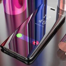 For Huawei P Smart Mirror Case Clear View Flip Cover Plus PSmart Fig-LX1 INE-LX2 POT FIG-LA1 Fundas
