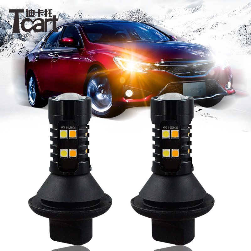 Tcart 2pcs Auto Upgraded Daylight Car LED Bulbs DRL Daytime Running Light Turn Signals PY21W 1156 For <font><b>Nissan</b></font> Note <font><b>E12</b></font> 2012-2017 image