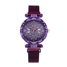 Women Magnet Watch Purple Lucky Flower Luxury Diamond Female Clock Ladies Stainless Steel Quartz Relogio Feminino