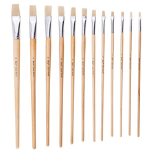 12Pcs Flat Head Bristle Hair Wood Handle Paint Brush Acrylic Oil Painting Brushes for Art Drawing Painting Supplies 6pcs fine bristle hair oil paint brush set filbert head woodlen handle professional paintbrush for artist oil painting supplies
