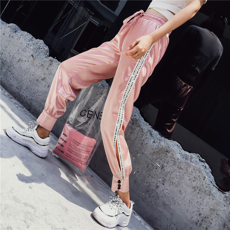 Hiphop purple sweatpants female hip hop Korean version of the tide student loose Dance pants 24