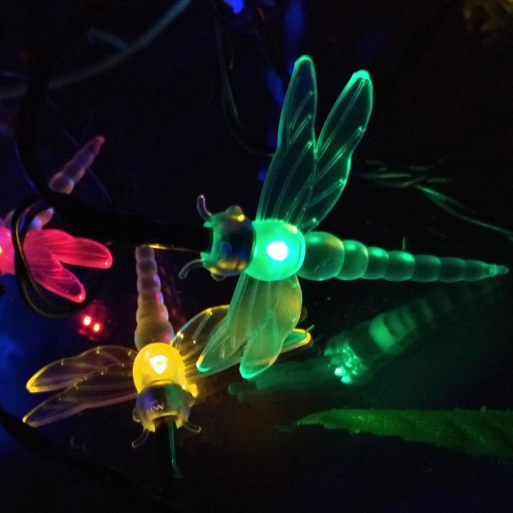 YIYANG Xmas 4.8M 20 Dragonfly Energy Saving Solar Fairy LED String Light Lamp Outdoor Lighting Strings Party Garden Decoration