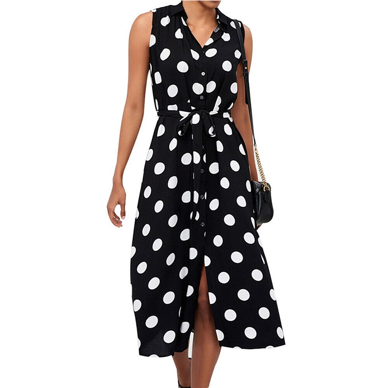 Sexy Split Polka Dot Dress Woman A-Line Dresses Fashion Vestidos Office Ladies Elegant Polka Dot Long Dress Button Beach Dresses