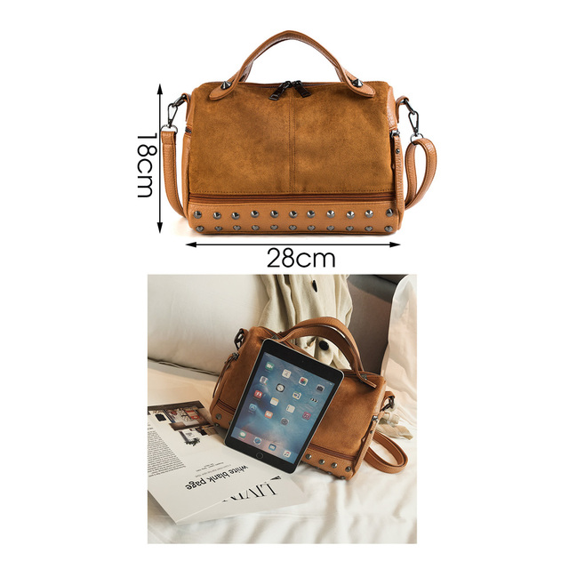 Women's Rivets Decorated Top-Handle Bag