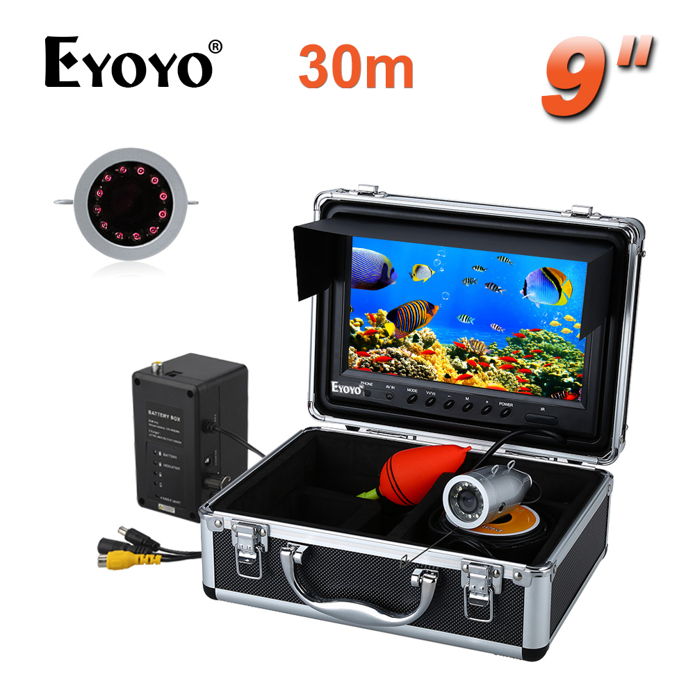 Eyoyo HD 1000tvl 30 m infrarrojos Cámara submarina para Pesca 9 pulgadas Fish Finder video recorder DVR 8 GB SD tarjeta