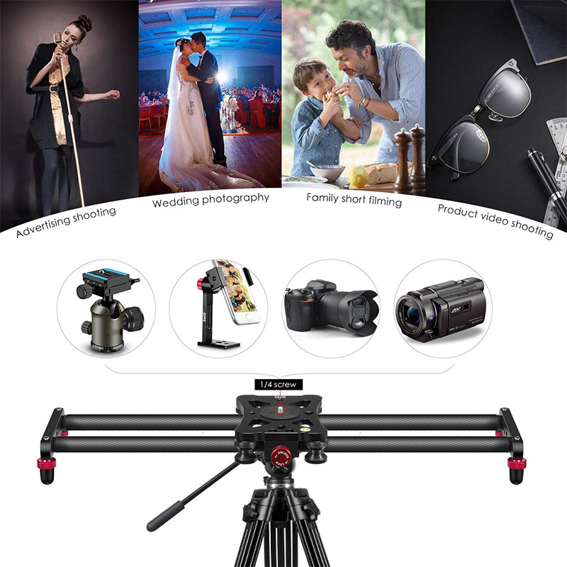 Piste de curseur de caméra de Fiber de carbone de 15.7 pouces avec 4 roulements à rouleaux pour le film vidéo faisant la livraison directe