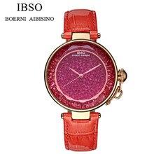 IBSO Marca Manera de Las Mujeres de Cuero Genuino Reloj Casual Vestido de Las Mujeres Relojes de Lujo de la Señora Del Color Del Caramelo Caso Análogo QuartzWatch IB8111