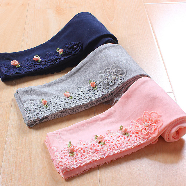 Детская одежда для девочек кружева цветок хлопка повседневные обтягивающие леггинсы Детская мода Весна-осень осень 3 цвета Леггинсы для принцессы 4-12 лет