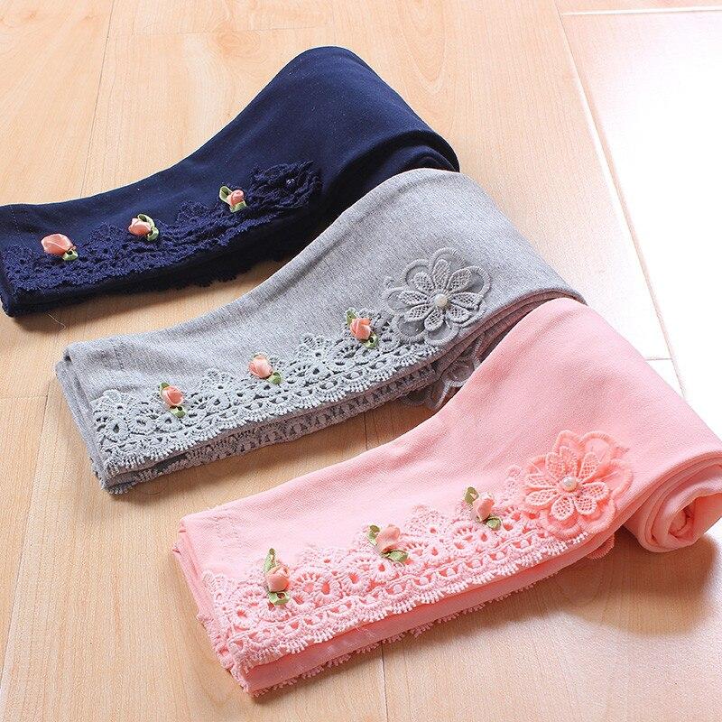 Bambini ragazze lace fiori di cotone causale leggings attillati bambini moda primavera estate autunno 3-color principessa leggings 4-12 anni