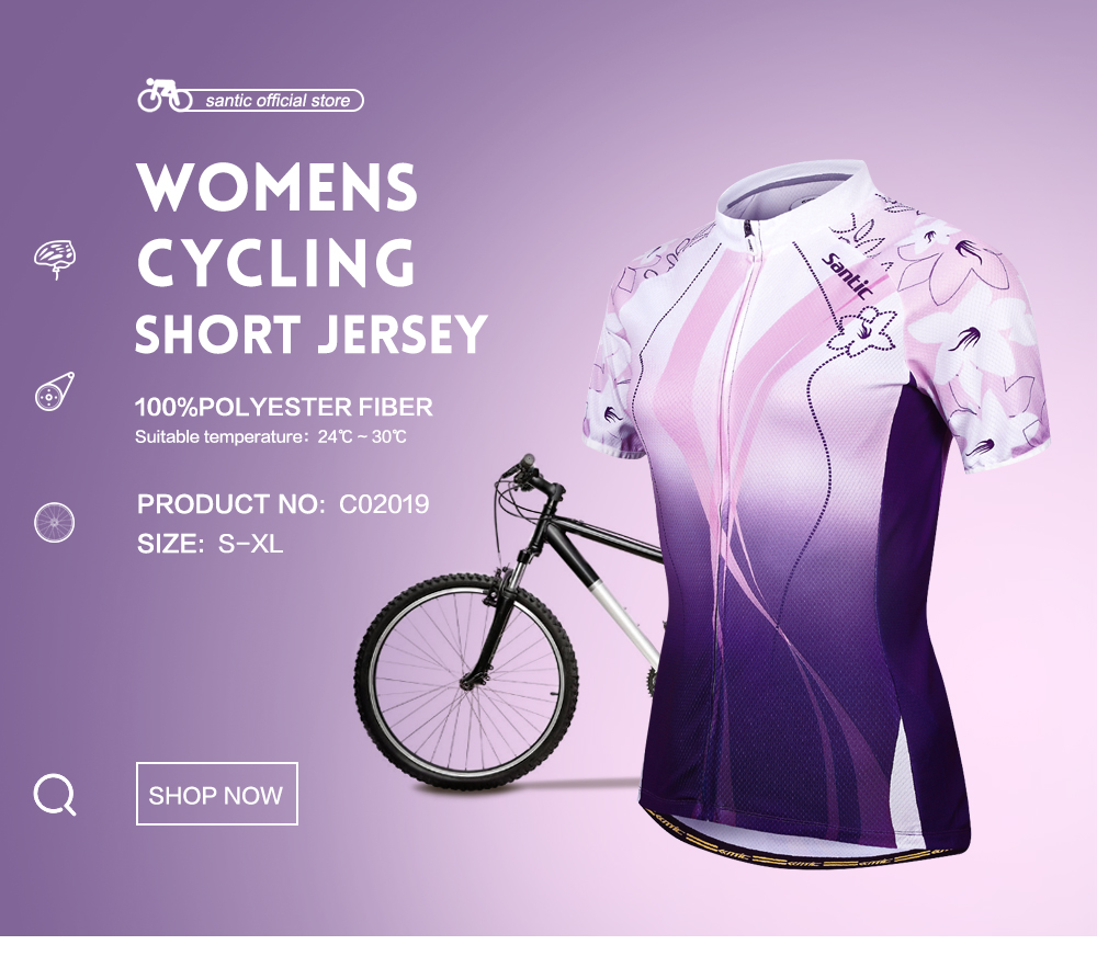 Santic Women Cycling Jersey Charges Short Sleeve Bicycle Sports Cycling Jerseys Summer Purple Cycling Clothes Asia Size C02019 high quality hello kitty cycling jerseys mtb road bike clothes short sleeve large size sports jersey for girls