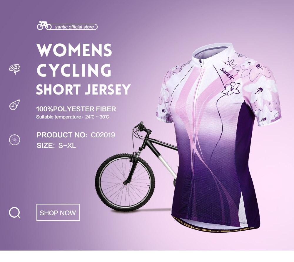 Prix pour Santic femmes cyclisme jersey frais à manches courtes vélo sports cyclisme jersey d'été pourpre vélo vêtements chine c02019