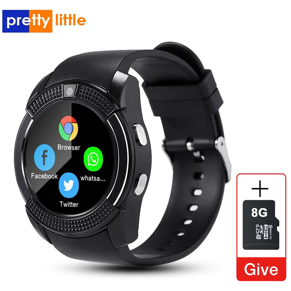 Sport hommes montre intelligente v8 carte sim android caméra réponse arrondie appel cadran appel Smartwatch fréquence cardiaque Fitness Tracker