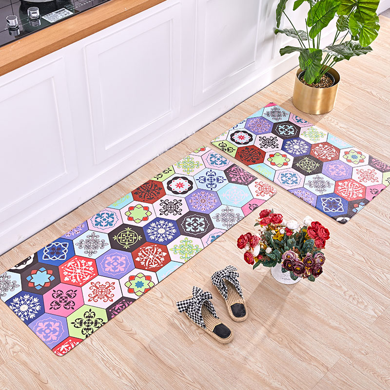 Nordic ins style Kitchen non-slip oilproof household PVC leather mat bathroom door Waterproof strip mat  Colored tiles rug
