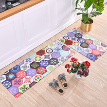 Nordic ins style Kitchen non-slip oilproof household PVC leather mat bathroom door Waterproof strip  Colored tiles rug