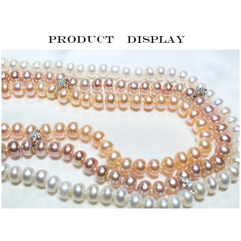 RUNZHUQIYUAN 2017 nouveau collier de perles d'eau douce naturelles 925 bijoux en argent sterling 8-9mm véritable collier meilleurs cadeaux pour les femmes - 5