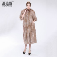 2017 Autumn Winter Luxury X Long Style Real Red Fox White Fox Fox Fur Coat Natural