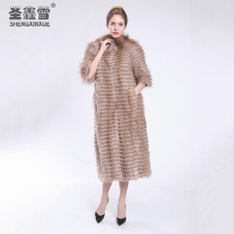 2017 Otoño Invierno de lujo de estilo largo real Red Fox zorro blanco Pieles de animales Natural Color Pieles de animales collar despojado estilo abrigo