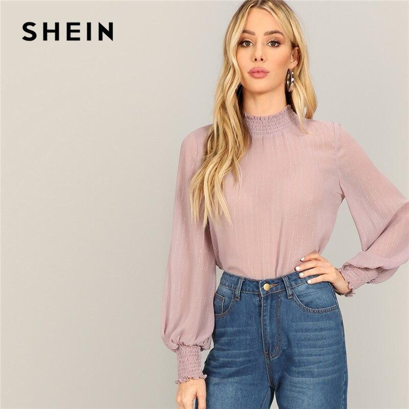c0e811c6a20e SHEIN Vintage púrpura plata hilo obispo de manga larga Mock-neck blusa  mujeres verano Elegante ropa de trabajo blusas y Tops sólidos