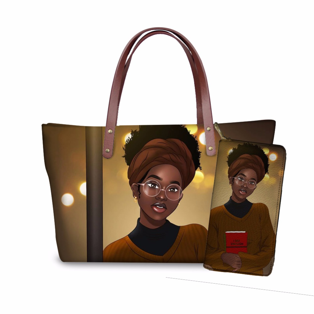 FORUDESIGNS Afro Meninas Impressão Mulheres Bolsa Preta