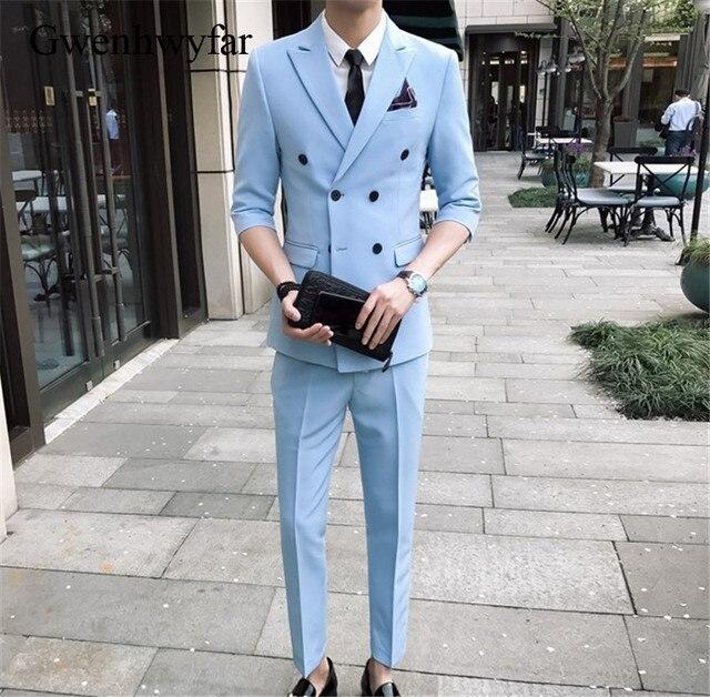 9803ffa4e87e Gwenhwyfar Short Sleeve Skinny Suit Sky Blue Summer Man Groom Suit Slim Fit  Suit Male Business Coat Fashion Men (Jacket+Pants)