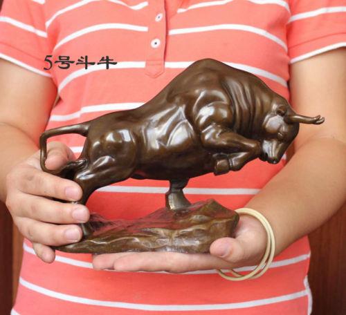 006790 Medium Size Bronze Coffee Wall Street Fierce Bull OX Figure Statue 9