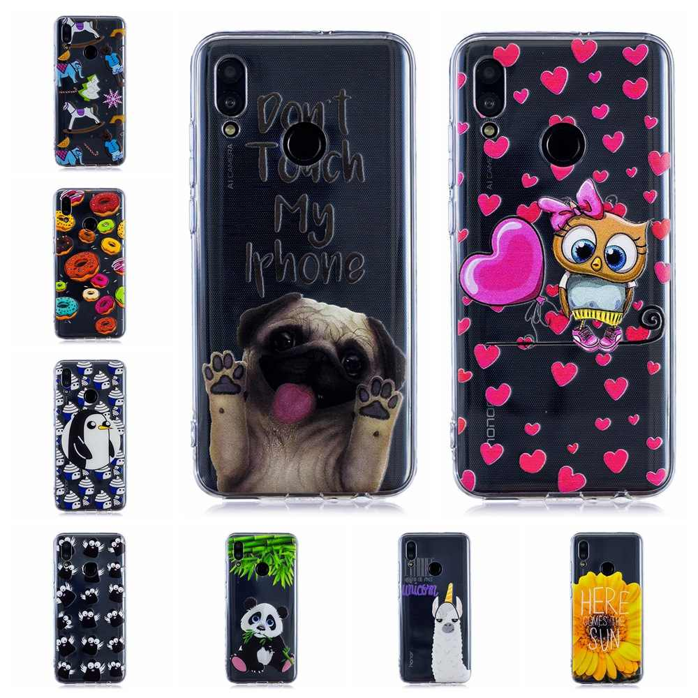 Luxury Soft Silicone TPU phone case For Huawei P Smart 2019 phone cover lovely unicorn owl panda Painted cases fundas