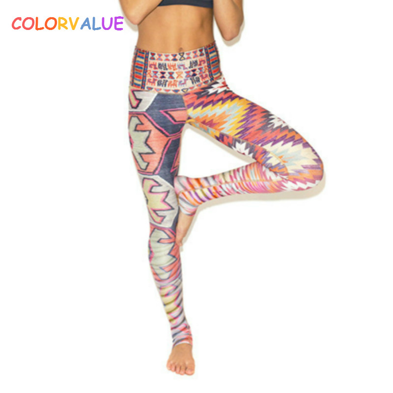 Colorvalue Geometrical Design Yoga Pants Women Flexible Printed Running Sport Leggings High Waist Fitness Training Leggings