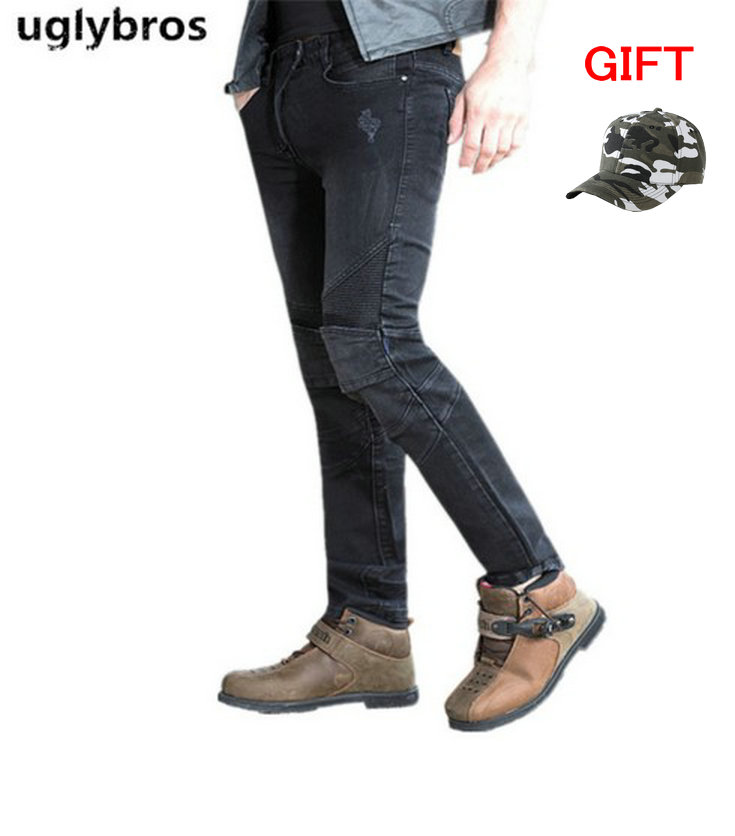 Uglybros Featherbed Jeans Black Mens Motorcycle Jeans Protection moto pants detachable protector racing pants
