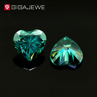 GIGAJEWE Heart Cut Dark Green Color Moissanite Stone 1ct 6.5mm Gem Making Fashion Jewelry Customize Beads DIY Girlfriend Gifts