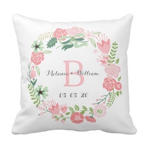 Printed Pillow Cases Pink Fl Wreath Personalized Wedding Case Size 45x45cm Free