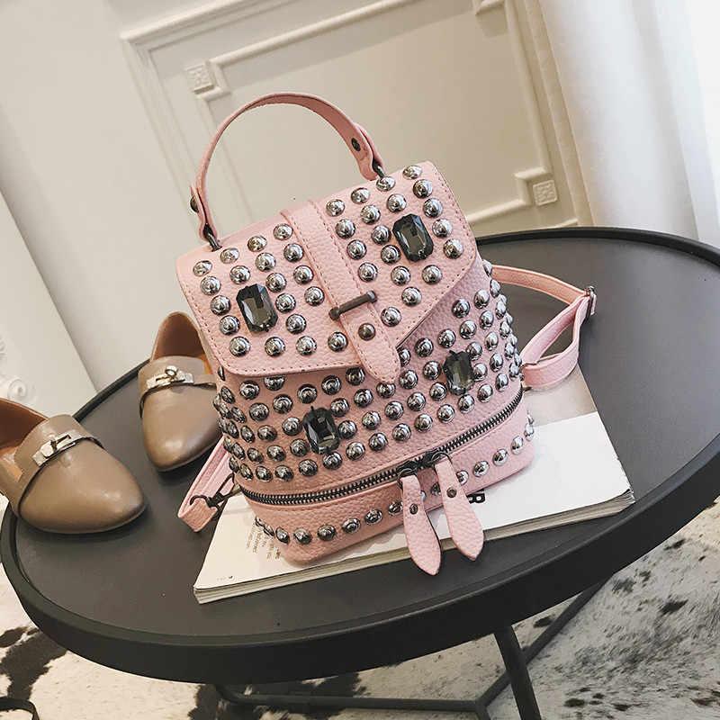 Путешествия Backbag Элитный бренд Для женщин кожаные рюкзаки Для женщин заклепки школьные сумки для девочек рюкзак Diamond Повседневное школьные сумки