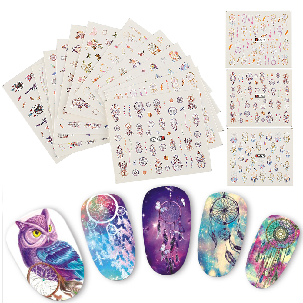 Hot 12PCS Nail Stickers DIY Water Transfer Tips Nail Decoration Art Sticker Decal Fingernail Stickers Tool Random Style 100pcs hot melodi nail stickers cartoon bow designs nail tips wraps diy nail patch art decoration fingernail beauty tools