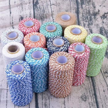 100m/roll Colorful DIY 2ply Bakers Pink String Cotton Cords Rope for Home Decor Handmade Christmas Gift Packing Craft Projects