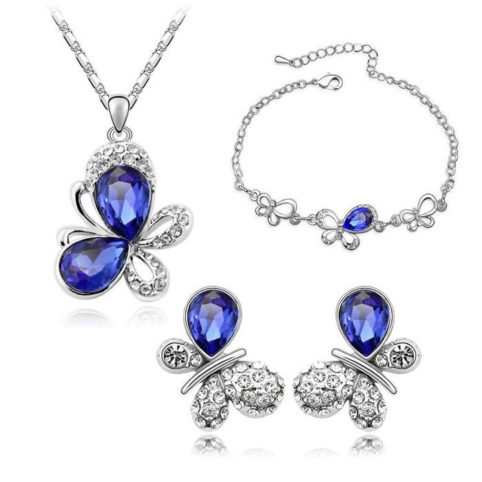 Jewelry-Sets Bracelet Necklace Earrings Pendant Crystal Austrian Butterfly Fashion Locket