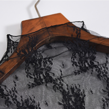 Lace Floral Embroidery Shirt mesh Transparent Long Sleeve Tops SF