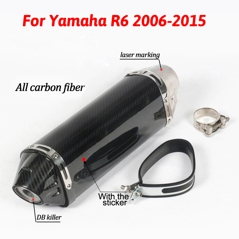 Slip On For YZF-R6 Motorcycle Exhaust Pipe Escape Special Modified Carbon Yoshimura Muffler With DB Killer For Yamaha R6 2006-15 motorcycle stainless steel for gp hp exhaust muffler pipe slip on for r6 with db killer r6 muffler r6 pipe r6 exhaust