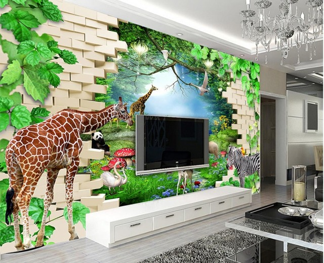 Jungle Thema Slaapkamer : Custom 3d wallpapers voor muur bos dier jungle achtergrond 3d behang