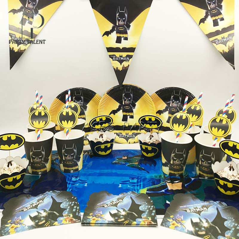 party supplies 50pcs for 8kids batman birthday party tableware set platecupstrawtablecoverbannerwrapperinvitation - Batman Party Invitations