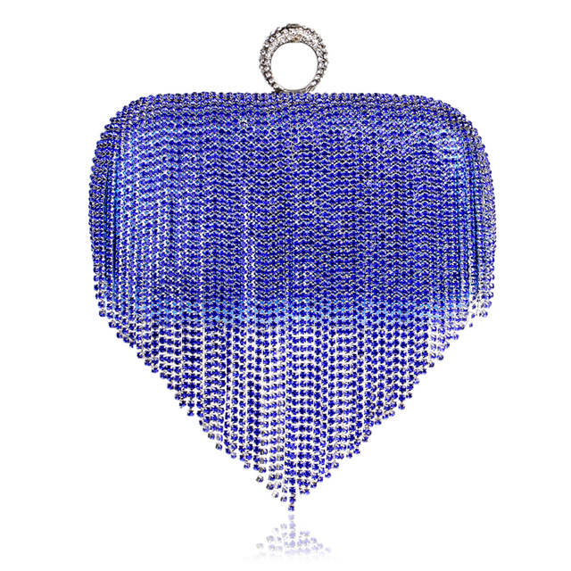 Long Tassel Women Evening Bags Finger Rings Rhinestones Purse Day Clutches Metal Evening Bag With Chain Shoulder Purse
