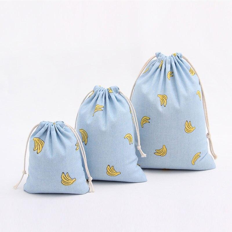 Yesello Cotton Linen Blue Banana Small 3D Printing Travel Softback Drawstring Bag School Girls Bag Travel Accessories