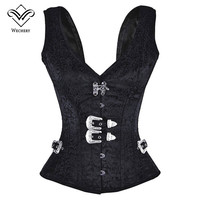 Black Waist Trainer Vest Slimming Underwear 12 Steel Boned Hot Shapers Steampunk Corset Gothic Corsets And