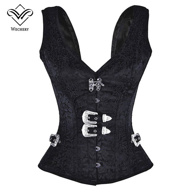 Wechery Steampunk   Corset   Gothic Clothing   Corsets   And   Bustiers   Black Vest 12 Steel Boned Sexy   Bustier   Korsett for Women Harness