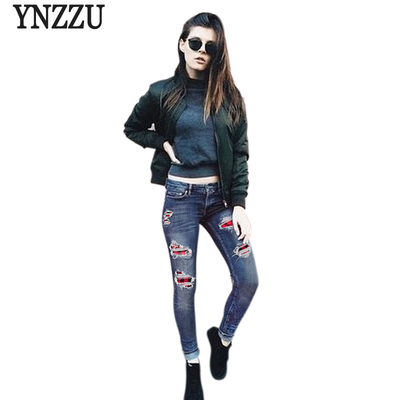 YNZZU Plus Size Skinny Women Jeans 2017 New Spring Ripped Plaid Patchwork long Jeans Women Casual Denim Pants Bottom YB110 inc international concepts plus size new charcoal pull on skinny pants 14wp $59