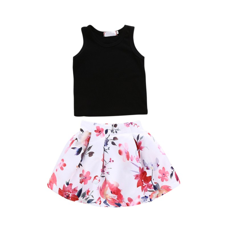 Free Shipping Kids Girls Clothes Sleeveless Tops Vest Floral Skirt Outfits Children Clothing 2 Pcs Sets For Baby