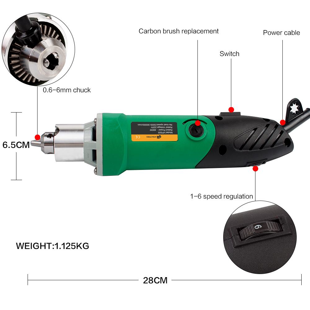 30000RPM 480W Electric Power Drills with 6 Variable Speed For Metalworking and Wood Drilling 12